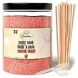Greendoso- Zucchero Colorato per Zucchero Filato 1,2 Kg Fragola per Macchina + 50 Bastoncini da 30 Cm (Offerti) + 1 Cucchiaio Misura