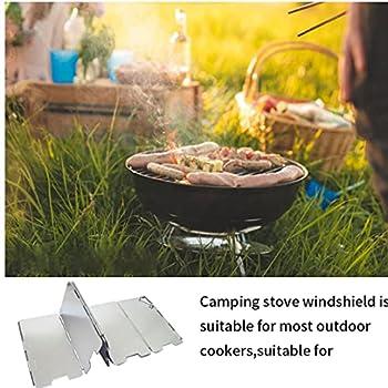 Sabcase Cuisinière Pare-Brise, Pliable Camping en Plein Air Cooker Vent Écran Poêle À Gaz Pare-Brise Conseil 9 Plaques D'aluminium Oxydation Vent Blocker avec Boîte De Rangement