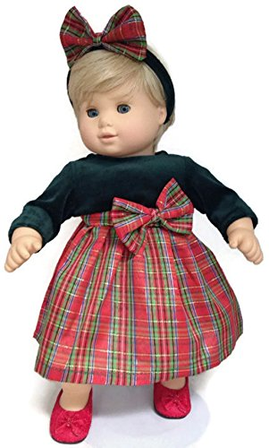 15' Doll Clothes fits Bitty Baby and Bitty Twin Dolls Holiday Plaid Dress & Matching Headband