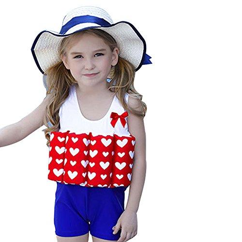 SXSHUN Kinder Badeanzug Schwimmhilfe Auftrieb Schwimmweste Einteiler Bademode Einstellbar Schulung Badebekleidung Für Mädchen Junge, Rotes Herz + Boxershorts, 7-8Jahre(120-130cm)