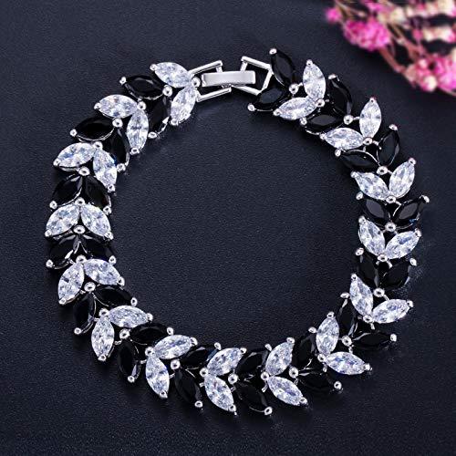 Bracelet For Women Luxury Jewelry Cubic Zircon Leaf Shape Vintage Bride Wedding Bracelet Bangle For Women Black