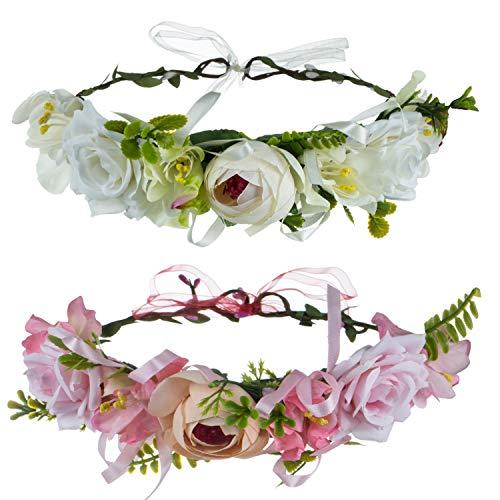 Blumenkrone Stirnband, GuKKK 2 Pcs Blumen Stirnbänder Kopfschmuck Haarbänder Floral Girlande Damen Mädchen für Festival Party Hochzeit Strand