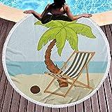 Toalla de playa Baño de playa Toallas de playa Toallas de piscina Estilo de dibujos animados Dibujo de palmera de coco y hamaca en la arena Patrón de temporada de verano para la playa o colgar en la p