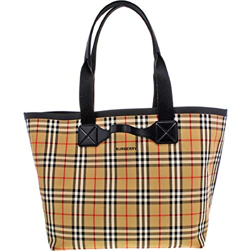 Burberry Womens Austen Vintage Check Tote Handbag Beige Extra Large