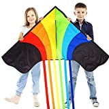 Original Rainbow Kite For Children And Adults - Very Easy To Fly Kite - Family Fun For All - Great Outdoor Toy...