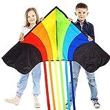 Sun Kites Gran Cometa de Arco Iris para niños y Adultos – Muy fácil de Volar Cometa – Gran Juguete para Principiantes – Construido para durar – 1,5 m de Ancho con 2,5 m Colas