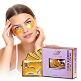 Under Eye Patches & Masks Set –24K Gold, Hyaluronic Acid, – Made in the U.S.A,Collagen Eye Pads for All Skin –Under Eye tightening Gel Pads Refresh Puffy Eyes, Dark Circles by Dermoland, 15 Pairs