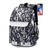 Sport-Rucksack Laptop | Frauen-Schule-Rucksäcke USB-Ladesegeltuch-Rucksack-Schule-Beutel für Jugendliche Jungen-Mädchen-große Kapazitäts-Spielraum-Rucksack Herren Taschen, Schwarzweiß-S