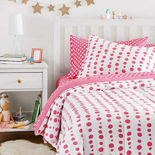Amazon Basics Easy Care Super Soft Microfiber Kid's Bed-in-a-Bag Bedding Set - Twin, Pink Dotted Line