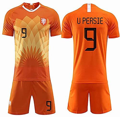 Fußballuniform Für Herren, Geeignet Für Die Niederländische Nationalmannschaft 11# Robben 9# U Persie Fußball-Sportbekleidung, Erwachsenen-Trikot-Set #9-XXL