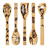 Star War Burned Wooden Spoons Utensil Set Gift Idea Cooking Serving Utensils Natural Bamboo Kitchen House Warming Presents Slotted Spoon 5 Piece
