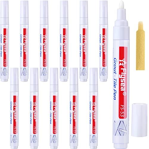 12 Piezas de Bolígrafo de Lechada de Rejuvenecer Pluma de Reparación para Azulejos Pared Suelo (Blanco)