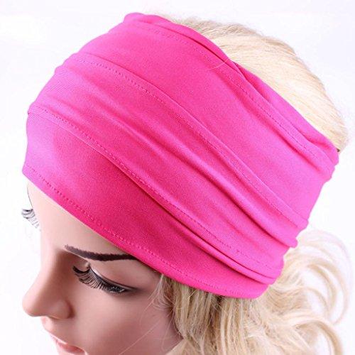 Diadema ancha para yoga, bohemia, retro, para correr, para mujer, accesorio para el pelo antideslizante, color Caliente, tamaño 12 * 23cm/4.7 * 9.1'