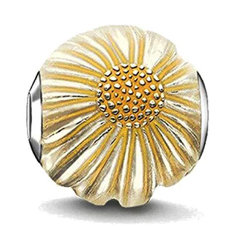 Bolenvi Yellow Sunflower Ball 925 Sterling Silver Charm Bead for Pandora & Similar Charm Bracelets or Necklaces
