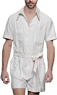 huateng Men's Linen Dungarees Jumpsuit Summer Fashion One Piece Shorts Romper Playsuit