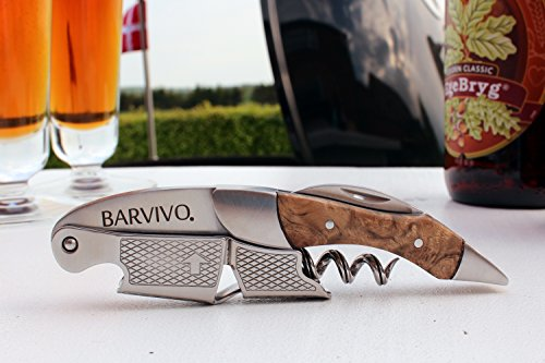 Professional Waiters Corkscrew by Barvivo - This Bottle Opener for Beer and Wine Bottles is Used by Waiters, Sommelier and Bartenders Around the World. Made of Stainless Steel and Bai Ying Wood.