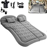 SAYGOGO SUV Air Mattress Camping Bed Cushion Pillow - Inflatable Thickened Car Air Bed with Electric Air Pump Flocking Surface Portable Sleeping Pad for Travel Camping Upgraded Version - Grey