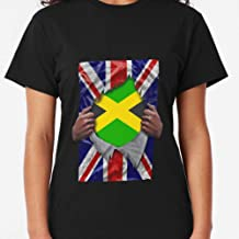 CARMINZ - Jamaican Flag Ripped Born In United Kingdom Roots From Jamaica Classic - T-shirt Christmas - Family Christmas Shirt - Merry Christmas Shirt For Women For Man Kid Boy Girl