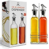 Oil and Vinegar Dispenser Set with Stainless Steel Rack, 17 oz Olive Oil