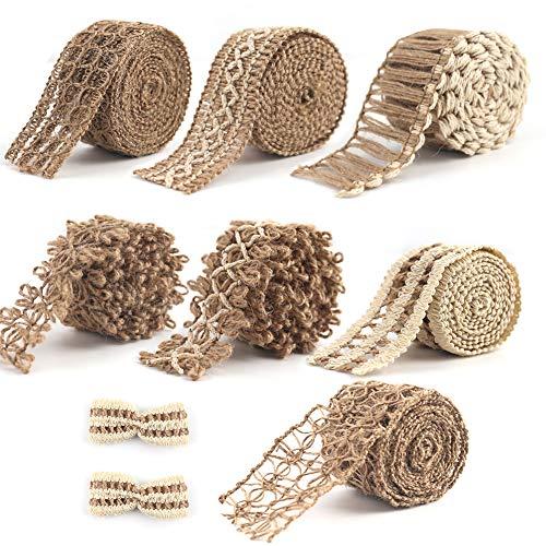 VGOODALL 7 rollos de cinta de yute natural, vintage, cinta de arpillera para artesanía, manualidades, álbumes de recortes, boda, decoración del hogar
