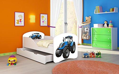 Kinderbett Jugendbett Komplett mit einer Schublade und Matratze Lattenrost Weiß ACMA I (160x80 cm + Bettkasten, 42 Traktor)