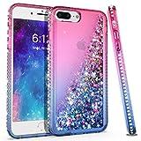 KULECase Glitter iPhone 7 Plus, iPhone 8 Plus, iPhone 6 Plus Diamond Phone Case, Floating Liquid Quicksand Protective Phone Cover, Stylish Elegant for Women Girls (Hot Pink/Blue)