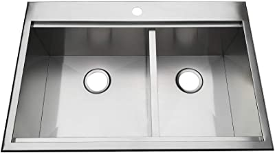 Brushed Kingston Brass GKTDF36209 Uptowne Drop-In Stainless Steel Double Bowl Farmhouse Kitchen Sink