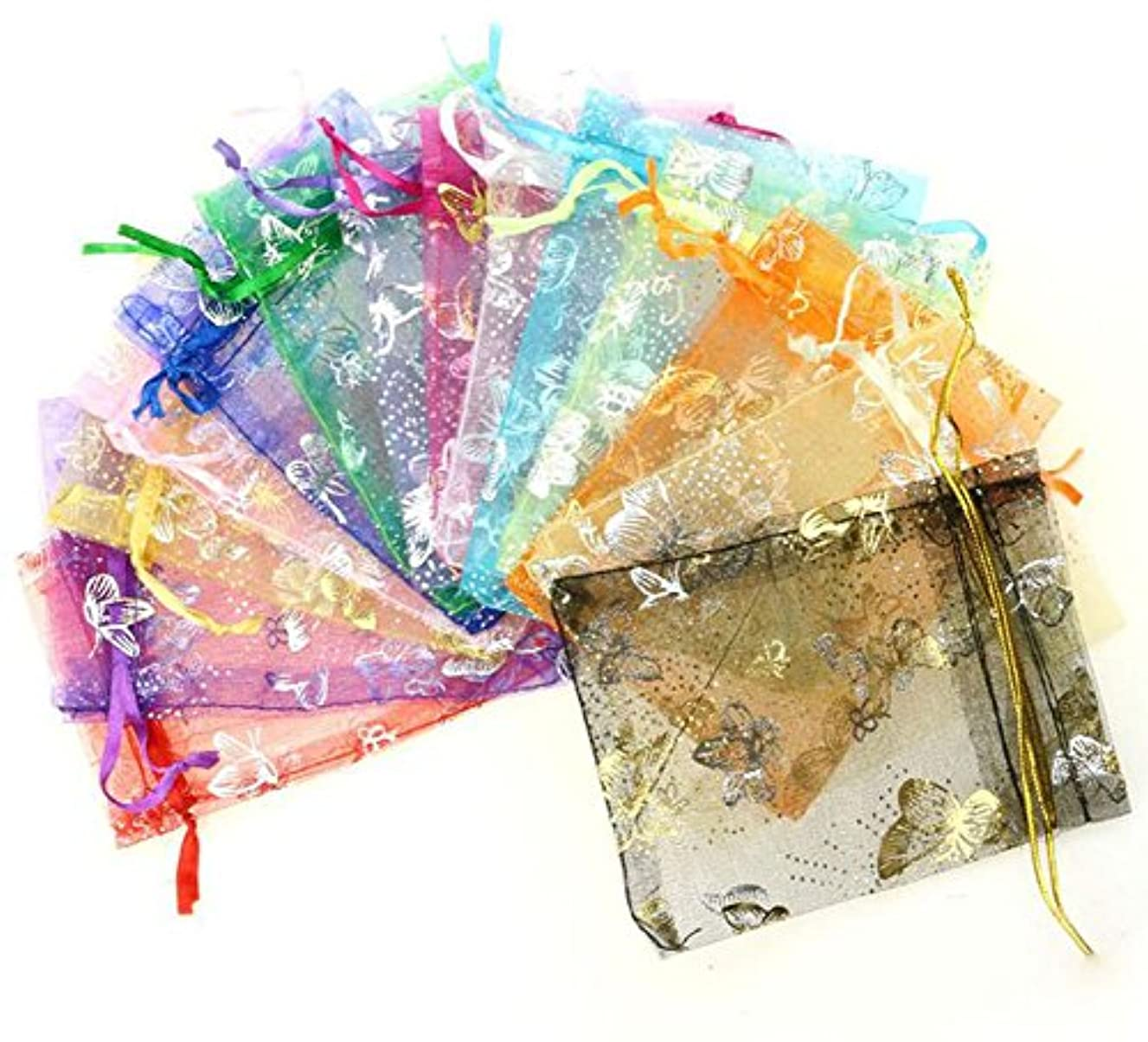luzen 50 Pieces Butterfly Print Organza Bags Candy Bags Jewelry Bags Drawstring Pouches Wedding Favors Gift Bags(13x18 CM)