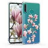 kwmobile Funda Compatible con Huawei P30 Lite - Carcasa de TPU y Magnolias en Rosa Claro/Blanco/Transparente