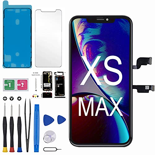 for iPhone Xs Max Screen Replacement 6.5 inch incell LCD Display 3D Touch Face ID Screen Digitizer Frame Assembly with Magnetic Screw Mat+Waterproof Seal+Screen Protector Repair Tools Kit for A1921,A2101,A2102,A2103,A2104
