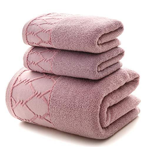 Juego de toallas de 3 piezas, 1 toalla de baño grande para adultos, 100% algodón grueso y suave agua de secado rápido, 2 unidades de 34 x 741 piezas, 70 x 140, color morado