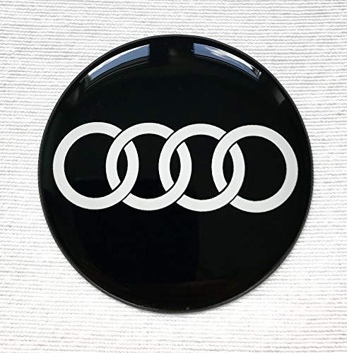 LogoEmbl Rad Mitte Aufkleber 4 x 55mm für Radkappen AudiLogo Embleme Mittelkappen Silikon Silicone 3D A3 A4 A6