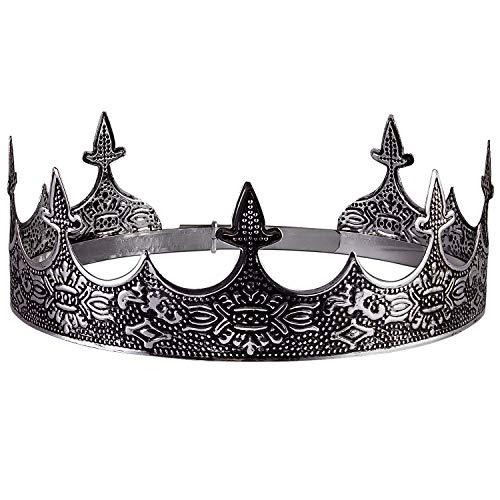 Crownguide Couronne de roi en argent antique pour homme pour costume de roi de mariage, couronne royale médiévale et sceptre accessoires pour adultes garçons Argent vieilli. One Size
