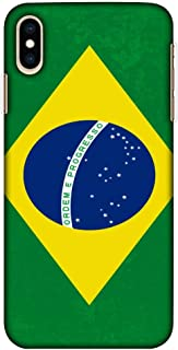 Amzer Ultra Thin Slim Fit Designer Hard Shell Case Back Cover Skin for Apple iPhone Xs Max - Football - Love for Brazil HD Color, Light Weight