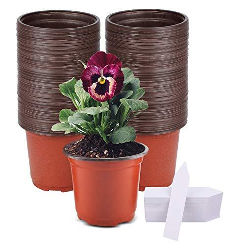 Hongyans 80 Pezzi Vasi Plastica per Piante 10 cm Vasetti per Piantine Riutilizzabile con Fori di Drenaggio, Vasi per Semina con 40 Pezzi Etichette per Piante