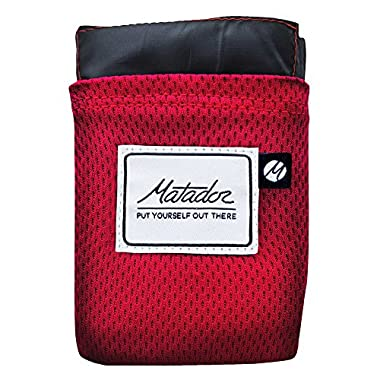 Matador Pocket Blanket 2.0 NEW VERSION, picnic, beach, hiking, camping. Water Resistant with Built-in Ground Stakes (Original Red)