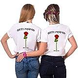 TAAIWO Best Friends – Camiseta para niña con diseño de Sister – Juego de Camisetas de Verano para Dos Mujeres – Mejor Amiga BFF Regalo de cumpleaños Blanco XL