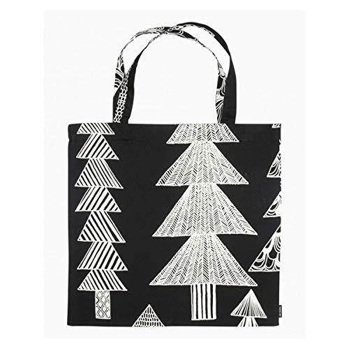 Marimekko - Kuusikossa - Tasche/Einkaufstasche/Baumwolltasche - Baumwolle - Schwarz/Weiß - 44 x 43cm