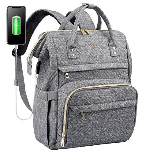 LOVEVOOK Laptop Rucksack Damen Vintage Schulrucksack Daypack mit 15,6 Zoll laptopfach, Stylischer Tagesrucksack mit USB-Ladeanschluss für Universität Reisen, Geschenk für Frauen Mädchen, Grau