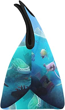 Insulated Neoprene Lunch Bag Hungry Shark World X iOS Android Shark Large Size Reusable Thermal Thick Lunch Tote Bags for Lun