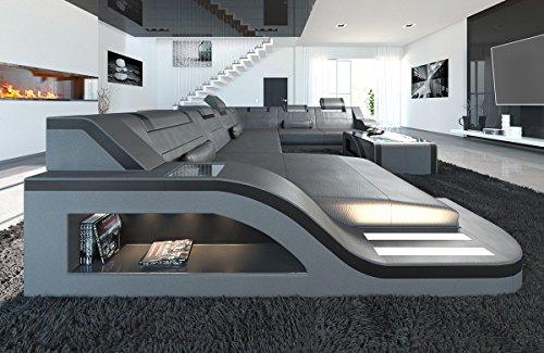 Sofa Dreams XXL Wohnlandschaft Palermo XXL grau-schwarz