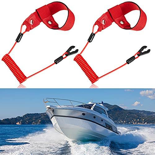 Stop Kill Safety Lanyards Floating Safety Switch Lanyards Boat Engine Emergency Stop Tether Cord Universal Safety Boat Motor Lanyards for Floating Safety Accessories (2)