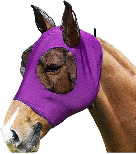 Fliegenmaske, Super-fit Pferdefliegenmaske mit Ohrenschutz für Horse/Cob/Pony Equestrian Mesh-Augen (lila)