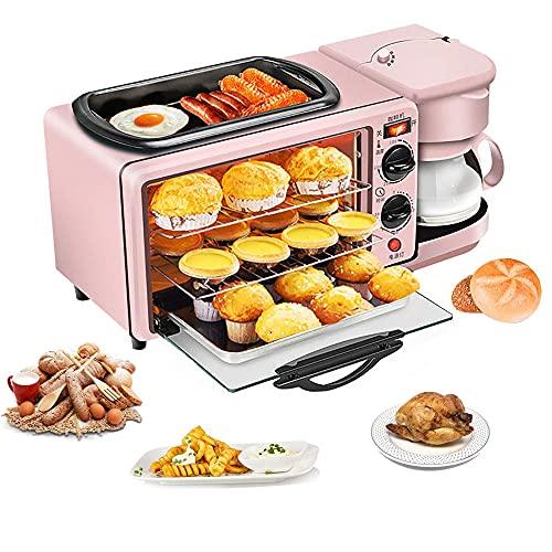 3 en 1 mini horno, hornos de sobremesa, hornos de cocina electrico, Gran Capacidad Control Inteligente Temperatura Temporizador, SartéN Antiadherente, horno sobremesa,Rosa,Sin tapa