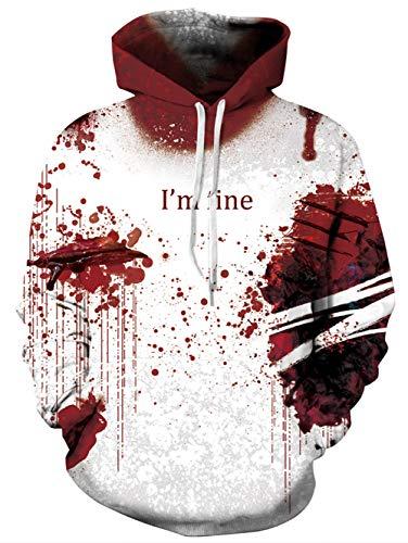 TUONROAD Herren Hoodie Halloween 3D Druck Kapuzenpullover Grafik Langarm Sweatshirt Pullover Top Jumper XL