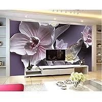 Iusasdz カスタム壁紙ホーム装飾されたリビングルーム寝室壁画3Dレリーフラージオーキッドテレビ背景装飾的な3D壁紙-200X140Cm
