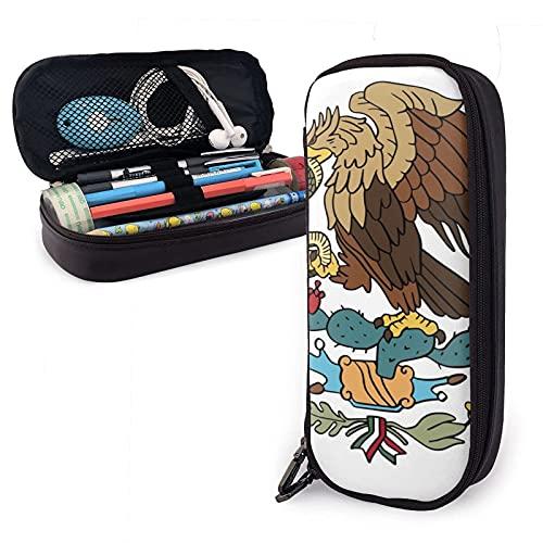 Estuche ¨¢guila Bandera Mexicana Con Una Serpiente Mexico Estuche multifuncional de cuero Pu para lápices con cierre de cremallera doble - Estuche de transporte para útiles escolares Material