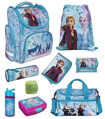 Familando Frozen Mädchen Schulranzen-Set 9-TLG. Scooli Export CLOU Schul-Tasche Disney Die Eiskönigin ELSA und Anna mit Sporttasche und Regenschutz Türkis für Mädchen