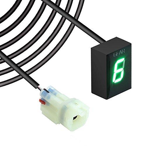 IDEA Wasserdicht 6 Speed LED Digital Anzeige Grün LED Display Ganganzeige Motorrad Schalthebel Sensor Rückseite Kabel für Kawasaki Plug & play