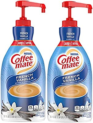 Nestle Coffee mate Coffee Creamer, French Vanilla, liquid pump bottle, Non Dairy, No Refrigeration, 50.7 Fl. Oz (Pack of 2)